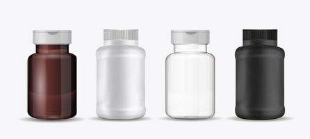 juego de botellas para pastillas. Envases médicos de vidrio o plástico para medicamentos, dietas, complementos nutricionales. ilustración vectorial. vector