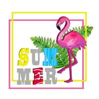 Creative summer composition with flamingo and tropical leaves. vector