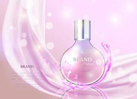 Vector illustration of a realistic style perfume in a glass bottle. Great advertising poster for promoting a new fragrance.