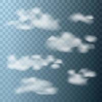 Set of realistic clouds on transparent background. Vector illustration.