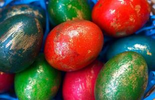 Colorful Easter eggs, decorated with gold photo