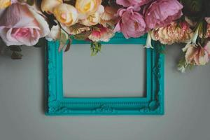 Frame with flowers floral background with copy space photo