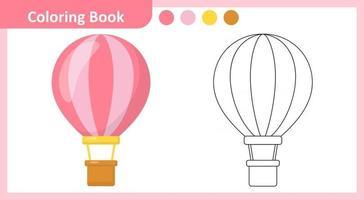 Coloring Book Hot air balloon vector