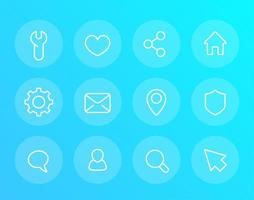Basic linear vector icons for web and apps