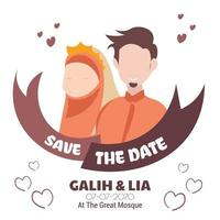 Simple and elegant wedding couple muslim invitation vector