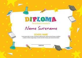 kids diploma certificate template vector