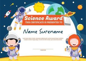 science award template certificate for kids multipurpose in space with muslim astronout vector