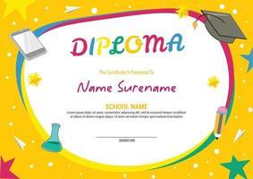 kids diploma certificate template stars vector