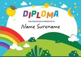 diploma template certificate for kids vector