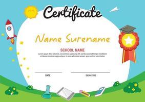 multi purpose school diploma certificate template kids awards with medal vector