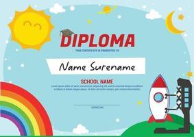 kids diploma certificate template with landing rocket vector