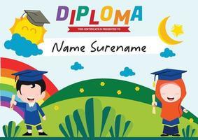 diploma template certificate for kids muslim vector