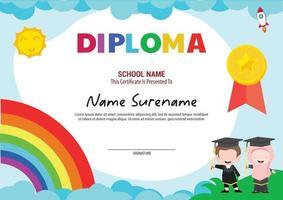 multi purpose school diploma template certificate kids with rainbow and rocket graduating vector