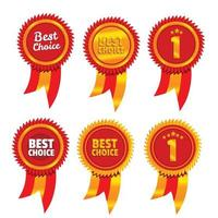 gold and red best choice the first award medal set vector