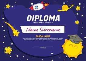 kids diploma certificate template with space vector