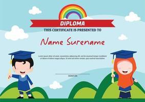 diploma template certificate for kids muslim rainbow vector