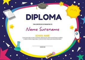 kids diploma certificate template stars and space vector