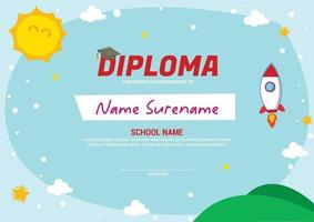 kids diploma certificate template with launch rocket vector
