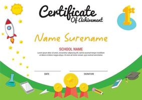 multi purpose school diploma template kids awards with medal number first vector