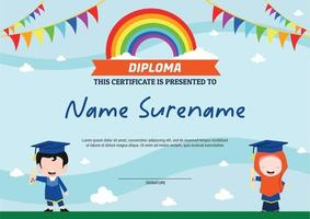 diploma template certificate for kids muslim rainbow with flags vector