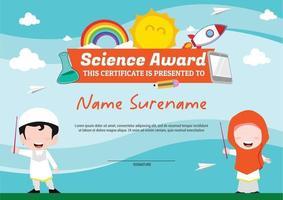 science award template certificate for kids multipurpose vector