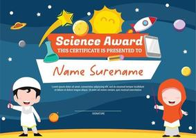 science award template certificate for kids multipurpose in space vector