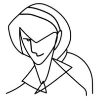 man with pony tail hair, continuous line style vector