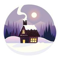 winter landscape country house and forest scenery vector