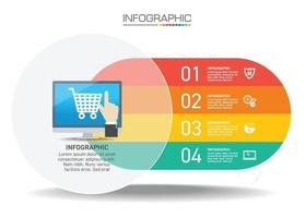 Infographics design 4 steps with marketing icons can be used for workflow layout, diagram, annual report, web design. vector