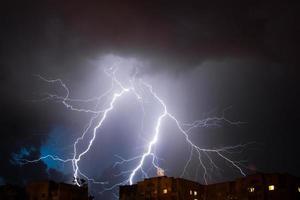 Bright lightning in the night sky photo