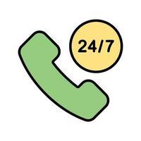Icono de servicio 24 horas vector