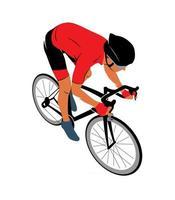 Ciclista en una pista de carreras en una ilustración de vector de fondo blanco