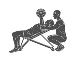 Silhouette trainer helps a man to train his chest with dumbbells on the bench press on a white background Vector illustration