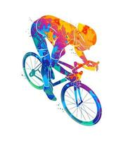 Abstract cyclist on a race track from a splash of watercolors Vector illustration of paints