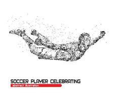 Jugador de fútbol feliz después de la victoria del portero en una ilustración de vector de fondo blanco