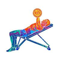 Abstract man training chest with dumbbells on bench press from splash of watercolors Body Building Vector illustration of paints