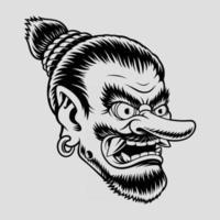 Illustration of a Japanese Tengu Mask vector