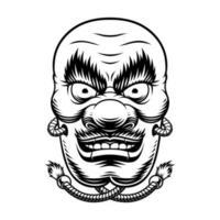 Black and white Japanese Tengu mask vector