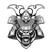 Vector illustration of a gorilla samurai