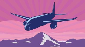 Jumbo Jet Plane or Airplane Flying Over Mountains with Sunburst Done In WPA Poster Art Style vector