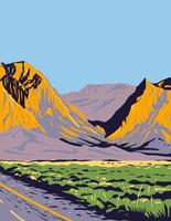 The Chisos Mountains or Chisos Located in Big Bend National Park in the The Trans-Pecos Region of Texas WPA Poster Art vector