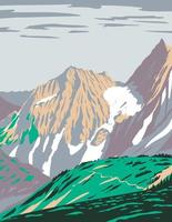 Cascade Pass or Skagit Pass with Yawning Glacier Over the Northern Cascade Range Located in Northern Cascades National Park in Washington State WPA Poster Art vector