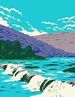 arenisca, new richmond o new river falls en el condado de summers, west virginia ubicado dentro del parque nacional new river gorge y preservar wpa poster art vector