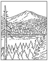 Summit of Lassen Peak Volcano Within Lassen Volcanic National Park in Northern California United States Mono Line or Monoline Black and White Line Art vector