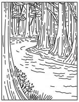un antiguo bosque de frondosas de tierras bajas en el parque nacional de congaree en el centro de carolina del sur estados unidos mono line o monoline line art en blanco y negro vector