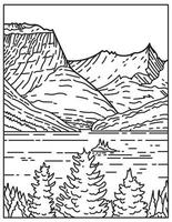 Saint Mary Lake and Wild Goose Island in Glacier National Park Located in Montana United States Mono Line or Monoline Black and White Line Art vector