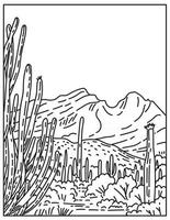 Organ Pipe Cactus National Monument in the Sonoran Desert located in extreme southern Arizona United States Mono Line or Monoline Black and White Line Art vector