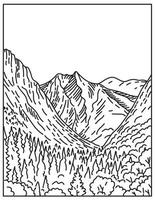 Kings Canyon from Paradise Valley in Kings Canyon National Park within Sierra Nevada California United States Mono Line or Monoline Black and White Line Art vector