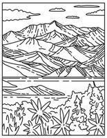 wrangell-st. parque nacional y reserva elias ubicado en el centro sur de alaska estados unidos mono line o monoline arte lineal en blanco y negro vector