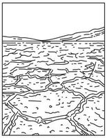Badwater Basin in Death Valley National Park Located Death Valley Inyo County California United States Mono Line or Monoline Black and White Line Art vector
